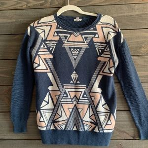Urban Outfitters Blue and Pink Aztec Sweater